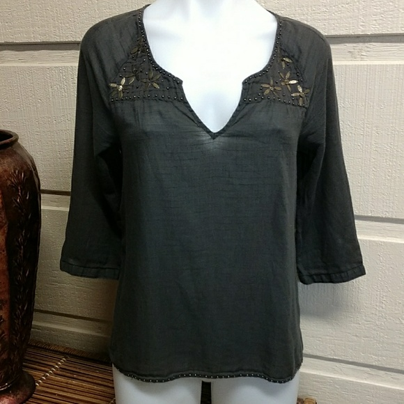 aerie Tops - Aerie boho semi-shee bronze embellished cotton top